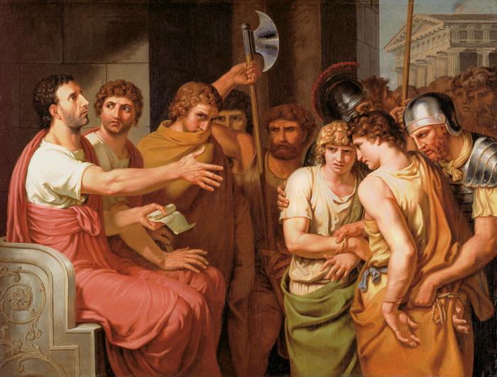 Johann H.W. Tischbein: Brutus entdeckt die Namen seiner Söhne ....
