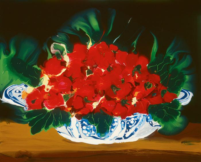 Christine Streuli: Erdbeeren in Porzellanschale
