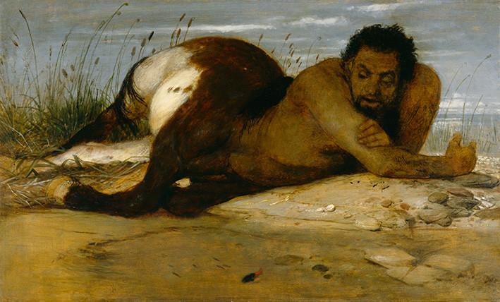 Arnold Böcklin: Kentaur, den Fischen zuschauend